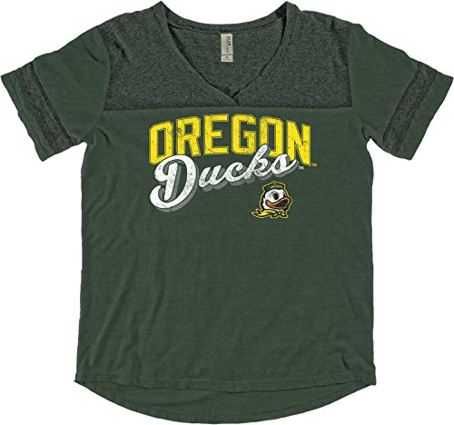 Oregon Ladies T-shirt (NCAA Oregon Ducks Adult Women NCAA Women's Dyed Varsity Tee,Large,Forest)