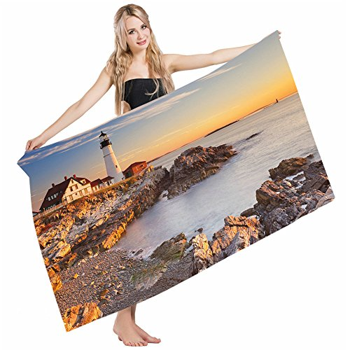 Elizabeth Lighthouse Cape (Wondertify Bath Towels United States Cape Elizabeth Maine River Portland Lighthouse Sunrise USA Coast Soft Machine Washable Beach Towels Lightweight Fast Drying Towel 32 X 64 Inches)