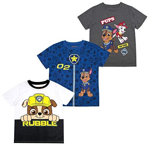 Paw Patrol Boys' T-Shirt (Pack of 3) 3T Dark Grey]()