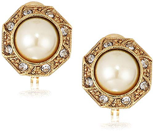 1928 Jewelry Women's Gold Tone Faux Pearl Crystal Round Button Clip Earrings, White, One Size
