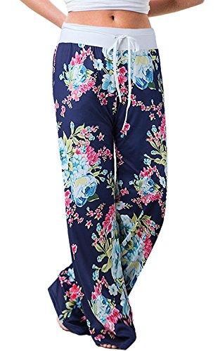 NEWCOSPLAY Women's Comfy Stretch Floral Print High Waist Drawstring Palazzo Wide Leg Pants (M, 0911blue) ()