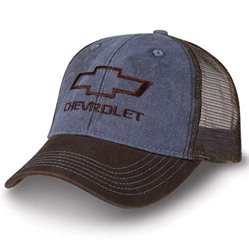 Chevy Truck Washed Twill/Mesh Cap Blue/Washed New Chevrolet Bowtie Hat ()