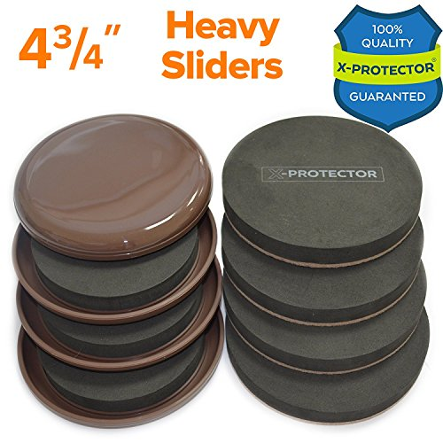 Furniture Sliders Kit (8 Pieces) 4 3/4 inch Carpet Sliders & Felt Sliders - Moving Pads - Furniture Movers ALL FLOOR TYPES! Heavy Duty Reusable Sliders For Moving Furniture - Do It Easily & Safely!