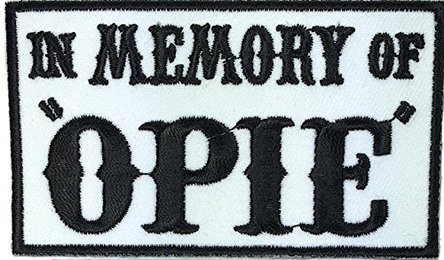 (Patch Squad Men's In Memory of Opie/Jax Outlaw Embroidered Military Biker Patch (Black/white)