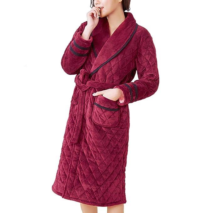 Vestido De Mujer Bata De Invierno Espesar Alargar Bata De Baño Pijamas Cálidos Franela De Otoño Batas De Algodón: Amazon.es: Ropa y accesorios
