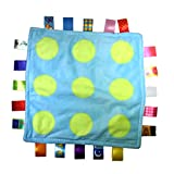 J&C Family Owned Little Tag Baby Sensory, Security & Teething Closed Ribbon Style Colors Security Comforting Teether Blanket - Green Circle Polka Dot Theme