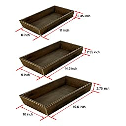 MyGift Rustic Wood Nesting Trays, 3 Piece Serving Butler Tray Set, Dark Brown