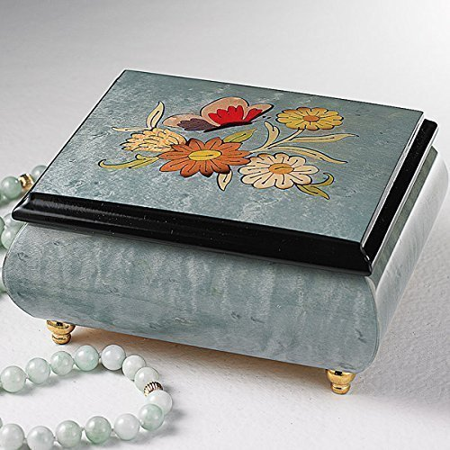 Light Blue Italian inlaid musical jewelry box with original butterfly design and customizable tune options
