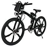 Folding Electric Moped Sport Mountain Men Bicycle with Large Capacity Battery [US STOCK] (Black)