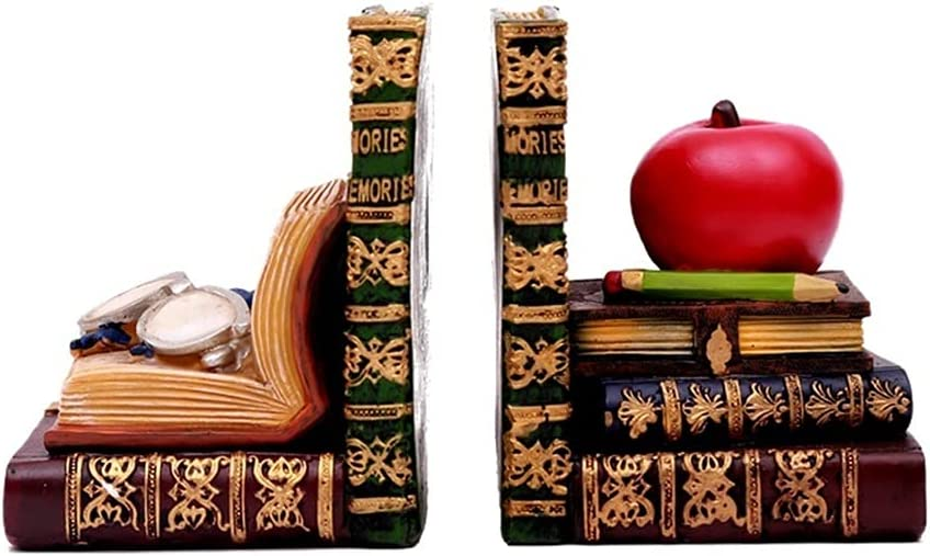 VIMI Bookend Antique Book-Like Bookends Classic Library Book Ends Resin Bookshelf Book Stoppers with Glasses and Apple Decorative for Office School Library Bedroom