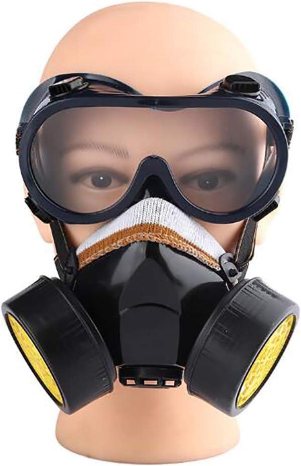 RJY 7 En 1 Respiradore con Gafas De Seguridad Paintbal Protección Gear, Respirador De Buena Estanqueidad Ampliamente, Gas Industrial Reutilizable por Químicos