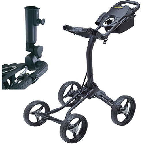 bag-boy-quad-xl-4-wheel-golf-push-cart-black-silver-with-free-bag-boy-adjustable-umbrella-holder30-v