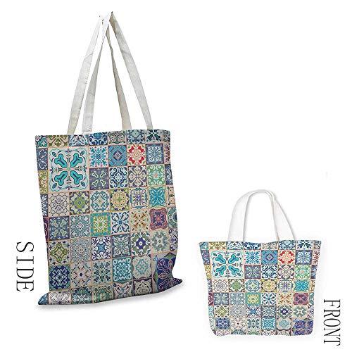 Crossbody men Moroccan Floral Patchwork Design with Arabesque Figure Mediterranean Symbolic Artisan Work Daily wallet handbag 16.5