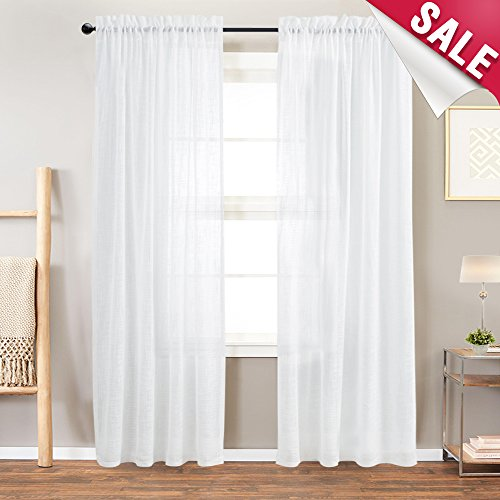 (White Sheer Curtains 84 Sheer White Curtains for Living Room 2 Panels Linen Textured Curtain Sheers for Bedroom Light Filtering Semi Sheer White Panels Rod Pocket)