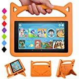 F i r e 7 Tablet Case Kids - SHREBORN Kids Shock Proof Protective Cover with Handle and Foldable Bracket for F i r e 7 Inch Tablet (Compatible with 7th Generation & 5th Generation) - Orange