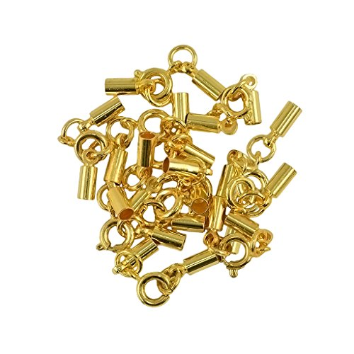MonkeyJack 12pcs Antique Brass Round Spring Clasp 3mm Crimp Tube Bell Ends DIY Jewelry Making - Yellow Gold, 3mm