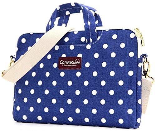 Canvaslove Blue Dot Canvas 13 inch Laptop Shoulder Messenger Bag Case for 11 Inch 12 Inch 13.3 Inch Laptop