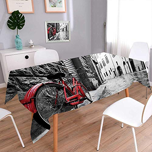 (Jiahonghome Rectangular Polyester Tablecloth for Wedding Dinner Classic Bike on Cobblestone Street in Italian Town Leisure Charm Artistic Photo Red Stain Resistant Table)