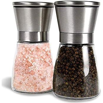 Vucchini Salt and Pepper Grinder Set,Adjustable Stainless Steel Spice Ceramic Grinders Mill Shaker for Kitchen Table,Green Color