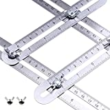 Angle Measurement Tool Stainless Steel Universal Template Measure Angular Ruler Laser Engraved Scale - Bag and...
