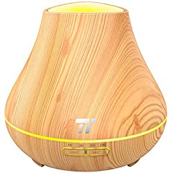 TaoTronics Essential Oil Diffuser, 400ml Wood Grain Aroma Diffuser for Aromatherapy (Noiseless High & Low Mist Humidifier, 14 Hours Continuous Mist, PP Build, Waterless Auto Shut-Off Protection)