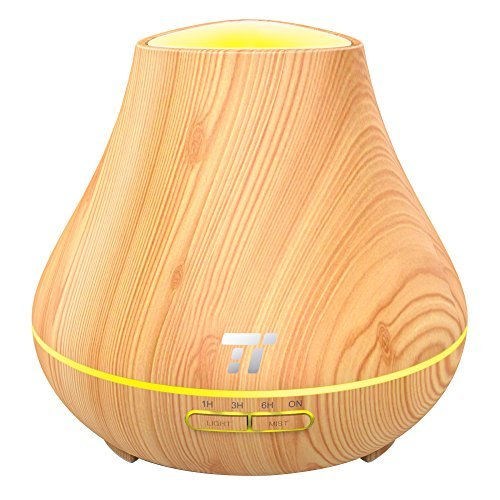 TaoTronics Essential Oil Diffuser, 400ml Wood Grain Aroma Diffuser for Aromatherapy (Noiseless 14 Hours Continuous Mist, PP Build, Diffusers for Essential Oils, Waterless Auto Shut-Off Protection) by TaoTronics