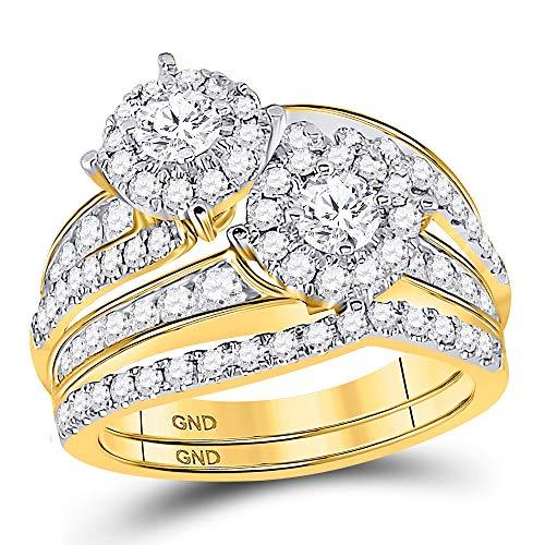 14kt Yellow Gold Womens Round Diamond 2-Stone Bridal Wedding Engagement Ring Band Set 1-3/4 Cttw