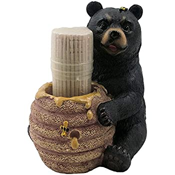 Decorative Black Bear in a Beehive Honey Pot Toothpick Holder Figurine for Cabin or Rustic Lodge Decor Sculptures and Statuettes As Collectible Wildlife Animal Gifts