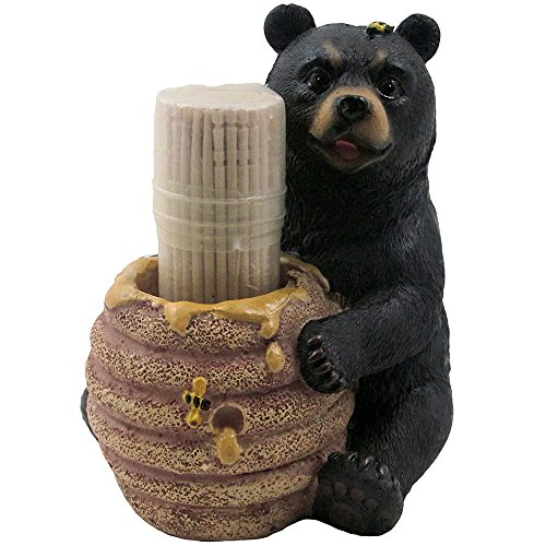 Decorative Black Bear in a Beehive Honey Pot Toothpick Holder Figurine for Cabin or Rustic Lodge Decor Sculptures and Statuettes As Collectible Wildlife Animal Gifts -