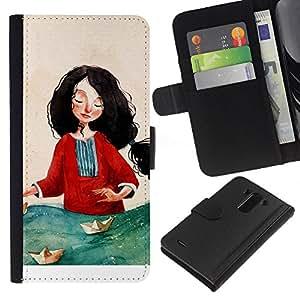 All Phone Most Case / Oferta Especial Cáscara Funda de cuero Monedero Cubierta de proteccion Caso / Wallet Case for LG G3 // Woman Red Sea Art Painting