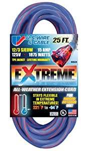 US Wire 99025 12/3 25-Foot SJEOW TPE Cold Weather Extension Cord Blue with Lighted Plug