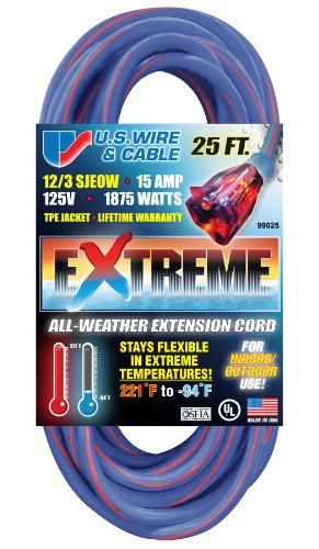US Wire 99025 12/3 25-Foot SJEOW TPE Cold Weather Extension Cord Blue with Lighted Plug (Extension Cable Temp)