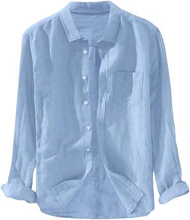 Camiseta Camisa Hombres Manga Larga Algodon Lino Color Sólido Tallas Grandes Top Csaual Moda Confort Primavera Verano: Amazon.es: Ropa y accesorios