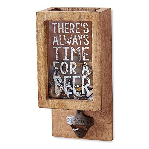 Mud Pie 4865037 Mango Wood Beer Bottle Cap Display Box, Brown](Bottle Cap Display Case)