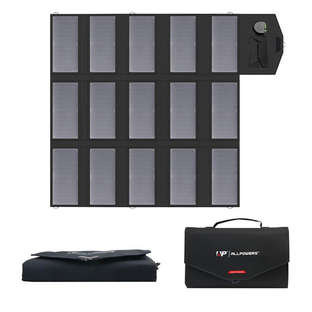 ALLPOWERS 100W Solar Charger (Dual 5v USB with iSolar Technology+18v DC Output) Portable Solar Panel for Laptop, Tablet, ipad, iPhone, Samsung, Notebooks, 12v Car, Boat, RV Battery, Camping, Hiking by ALLPOWERS