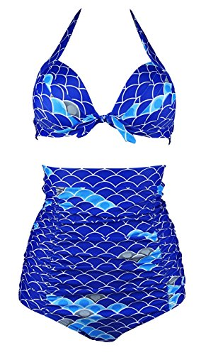 Cocoship Blue & Aqua Sea Scales Women's Halter High Waisted Two Piece Bikini Gorgeously dressed Vintage Swimsuit XL(FBA)