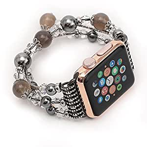 BALIYIN Luxury Handcrafted Agate Apple Watch Band, Beautiful, Pretty, Charming Agate Watch Band for Iwatch Apple Watch for Lady, Women, Girls, for Party, Wine Party, Gathering (Grey, 38MM)