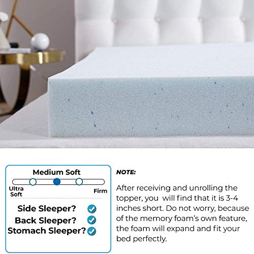 Comfort & Relax 2 Inch Gel-Infused Memory Foam Mattress Topper, Plush Cover, AirCell-Tech, QUEEN