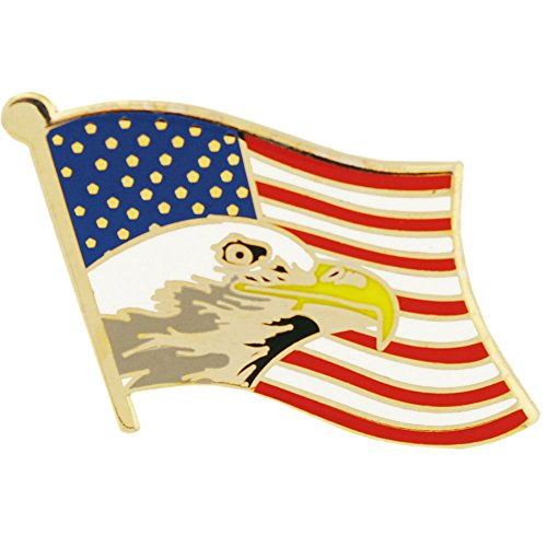 United States Flag With Bald Eagle Pin Military Collectibles for Men Women