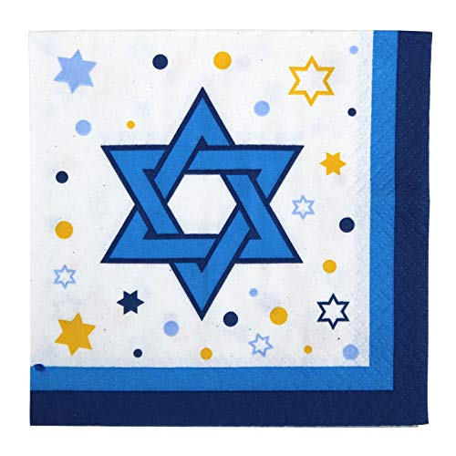 Iconikal Disposable Beverage Paper Party Napkins, Stars of Hanukkah, 72-Count