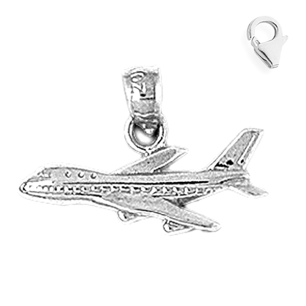 JewelsObsession Sterling Silver 21mm Airplane Charm w//Lobster Clasp