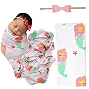 PoshPeanut Mermaid Infant Swaddle Blanket - Large Premium Knit Baby Swaddling Receiving Blanket And Headband Set, Baby Shower Newborn Gift (Mermaid Princess)