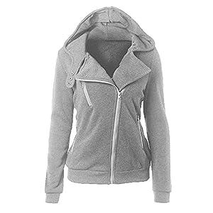 spyman Warm Women White Zip Up Fleece Slim Fit Hooded Coat Warm Pocket Hoodie Jacket Light GraySmall