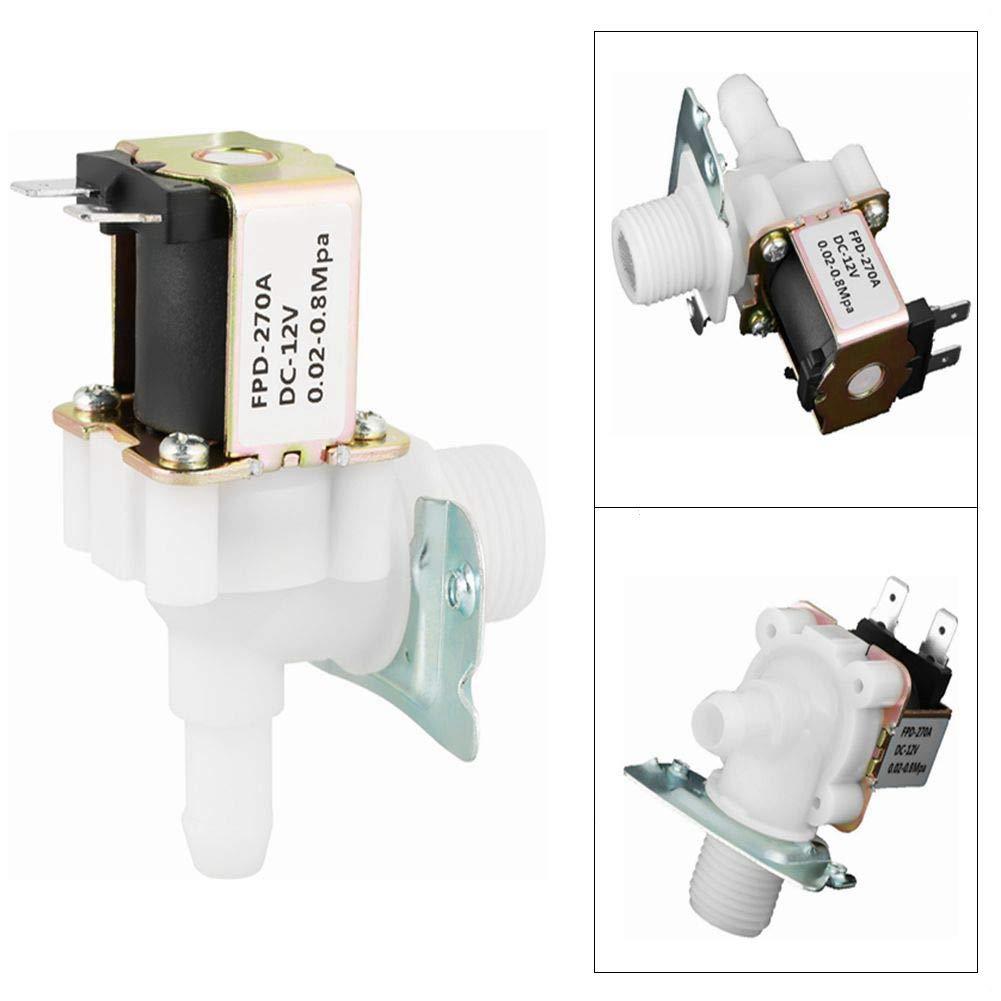V/álvula solenoide el/éctrica 2 Interruptor de entrada de agua de v/álvula electromagn/ética de pl/ástico normalmente cerrada DC 12V DN15 G1