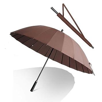 Paraguas Paraguas Largo para Hombres - con 24 Huesos De Acero, Paraguas Resistente Al Viento - Mango Largo Y Recto (Color : Brown): Amazon.es: Hogar