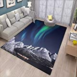 Sky Door Mats for Inside Aurora Borealis Aurora Over Fjords Mountain at Night Norway Solar Image Artwork Bath Mat for tub Bathroom Mat Green Dark Blue