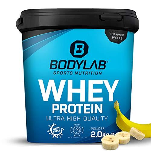 Bodylab Whey Protein eiwitpoeder   2kg   banaan   hochwertiges Proteinpulver, Low Carb eiwitshake voor spieropbouw