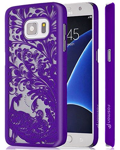 Galaxy S7 Case, Fosmon SLIM-R [Peacock Design | Clear Back] Slim Fit Bumper Hard Case Cover For Samsung Galaxy S7 - Radiant Orchid (Rubberized Back Cover)
