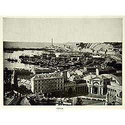 1902 Print Genoa Genova Italy City Italian Cityscape View Historic Image BVM1 - Original Halftone Print