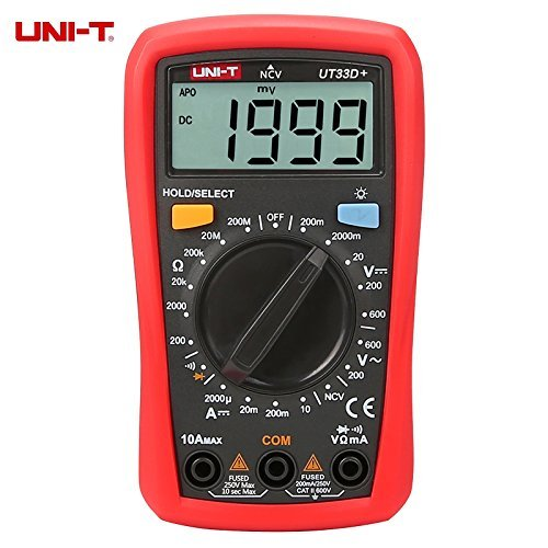 UNI-T UT33D+ 1999 Counts Digital Multimeter with NVC Tester Manual Range 60V Voltage Meter 10A DC Ammeter LCD Backlight by uni-t